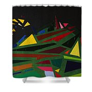 Night On The Green Fractures And Lights Shower Curtain