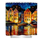 Night Resting Original Oil Painting  Shower Curtain