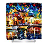 Night Riverfront - Palette Knife Oil Painting On Canvas By Leonid Afremov Shower Curtain