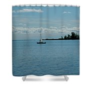 Night Sailing At Port Hope Bay Michigan Shower Curtain