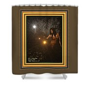 Night Search No. 8 H A With Decorative Ornate Printed Frame Shower Curtain