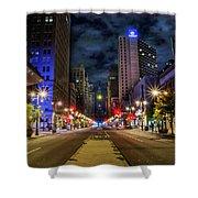 Night Shot Of Broad Street - Philadelphia Shower Curtain