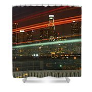 Night Shot Of Downtown Los Angeles Skyline From 6th St. Bridge Shower Curtain