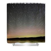 Night Shot Star Trails Lake Shower Curtain
