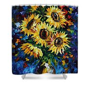 Night Sunflowers Shower Curtain