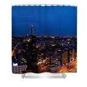 Night Tallinn City Line Panorama Shower Curtain
