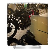 Night Time Silhouette Of Vintage Motorcycle Near Tail Of 50's St Shower Curtain