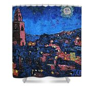 Night Time View Of Cork City Shower Curtain