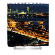 Night Traffic Over Han River In Seoul Shower Curtain