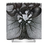 Night Tree Moon And We  Shower Curtain