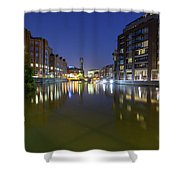 Night View Across River Avon To Temple Bridge Bristol England Shower Curtain