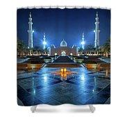 Night View At Sheikh Zayed Grand Mosque, Abu Dhabi, United Arab Emirates Shower Curtain
