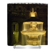 Night View Of A Fountain Outside Saint Shower Curtain