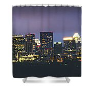 Night View Of Downtown Skyline In Winter Shower Curtain