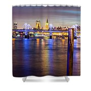 Night View Of Hungerford Bridge And Golden Jubilee Bridges London Shower Curtain