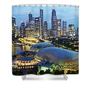 Night View Of The Esplanade And Central Shower Curtain