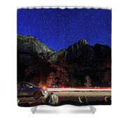 Night View Of The Upper And Lower Yosemite Fall Shower Curtain