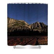 Night View Of The Upper Yosemite Fall Shower Curtain
