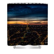 Night View Over Paris With Eiffel Tower Shower Curtain