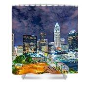 Night View Scenes Around Charlotte North Carolina Shower Curtain