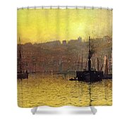 Nightfall In Scarborough Harbour Shower Curtain