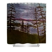 Nightime Rangely Lake Maine Shower Curtain