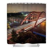 Nighttime Boats Cruise Up And Down The Loop 360 Bridge, A Boaters Paradise With Activities That Include Boating, Fishing, Swimming And Picnicking - Stock Image Shower Curtain