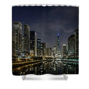 Nighttime Chicago River And Skyline View Shower Curtain