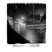 Nighttime Street Scene With Traffic Shower Curtain