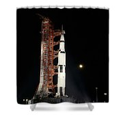 Nighttime View Of The Apollo 12 Space Shower Curtain
