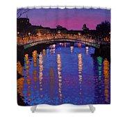 Nighttown Ha Penny Bridge Dublin Shower Curtain by John  Nolan