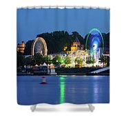 Nijmegen Along The Waal River With A Fairground Shower Curtain
