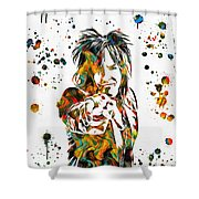 Nikki Sixx Paint Splatter Shower Curtain