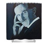 Nikola Tesla - Blue Portrait Shower Curtain