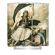 Nikolakis Mitropoulos Raises The Flag With The Cross At Salona On Easter Day 1821 Shower Curtain