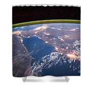 Nile River At Night From Iss Shower Curtain