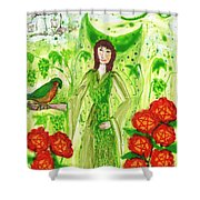 Nine Of Pentacles Illustrated Shower Curtain