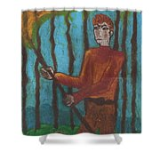 Nine Of Wands Illustrated Shower Curtain