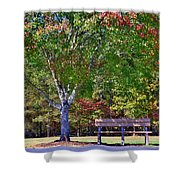 Ninety Six National Historic Site Bench In Autumn  Shower Curtain