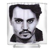 Johnny Depp Drawing By Sofia Furniel Shower Curtain