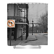 No Left Turn - Selective Color Shower Curtain