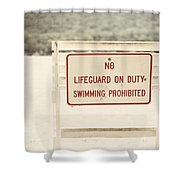 No Swimming Shower Curtain by Lisa Russo