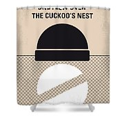 No454 My One Flew Over The Cuckoos Nest Minimal Movie Poster Shower Curtain
