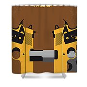 No576 My Face Off Minimal Movie Poster Shower Curtain