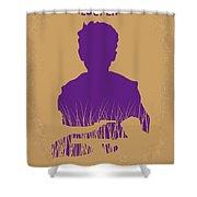 No636 My Looper Minimal Movie Poster Shower Curtain