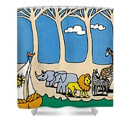 Noah's Ark Shower Curtain by Genevieve Esson