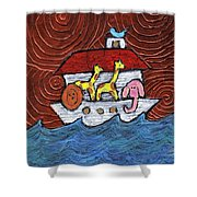 Noahs Ark With Blue Bird Shower Curtain