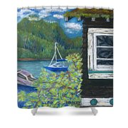 Noble Cottage At The Lake Shower Curtain