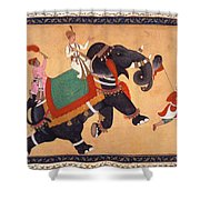 Nobleman Riding Elephant Shower Curtain
