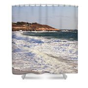 Nobska Point Seascape Shower Curtain by Roupen  Baker